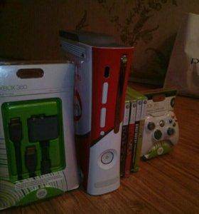 Xbox 360 Pro + 4 игры + 2 геймпада