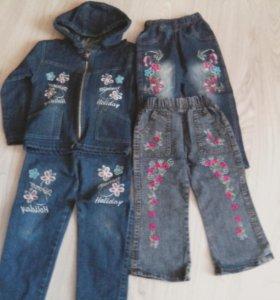Джинсовый костюм и штаны для девочки