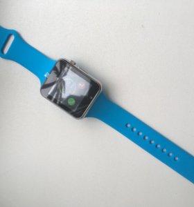Умные смарт часы, W8, синие