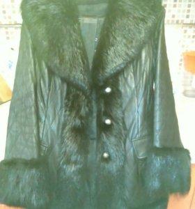 Кожаное пальто с мехом+подарок!