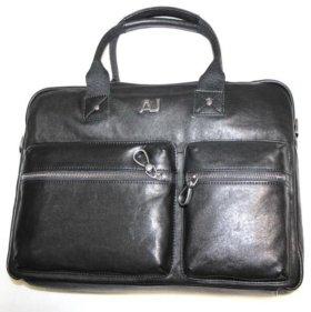 Кожаная сумка портфель Armani -AJ- black new