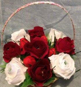 Букет роз на заказ с конфетами