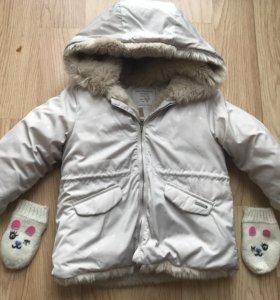 Куртка для девочки Zara+варежки на флисе в подарок