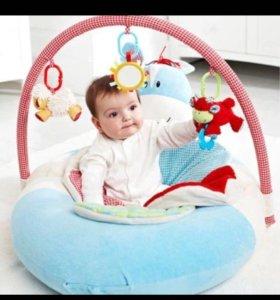 Надувной развивающий диван для младенца Бегемотик