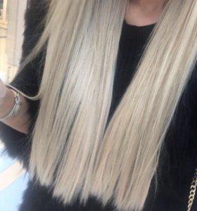 Термостойкие волосы на заколках блонд