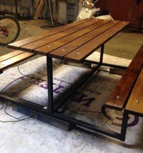 Стол с лавками Benru для загородного дома