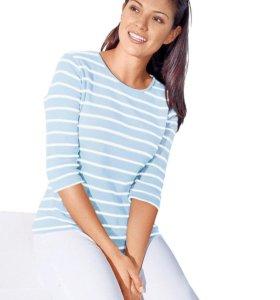Новая нежно-голубая полосатая футболка 58 р-р