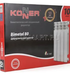 Радиатор биметаллический Konner, 10 секций, 500/80