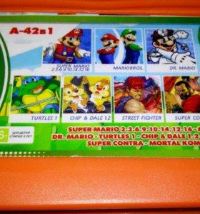 Картридж Денди с игрой Супер Марио.