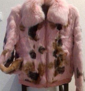 Куртка на замке, мех кролик, воротник песец