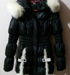 Пуховик зимний отделка норка размер 42
