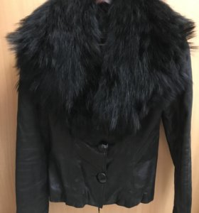 Куртка кожаная с натуральным мехом б/у