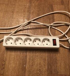 Удлинитель бытовой с 5-ю розетками и выключателем