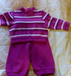 Шерстяной костюм 4-7 месяцев
