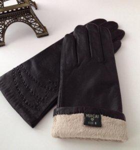 Женские перчатки, кожа, новые