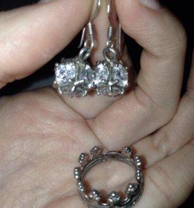 Серьги и кольцо, серебро.