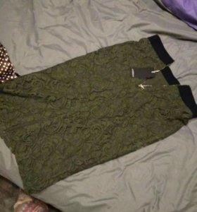 Юбка гипюровая ,размер 44 ,цвет изумрудный,новая
