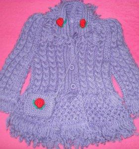 Пальто вязаное! Новое! Не дорого!