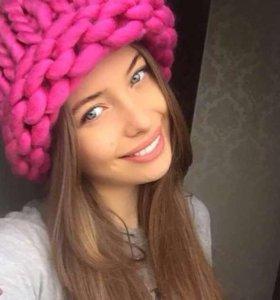 Малиновая шерстяная шапка Хельсинки, фуксия