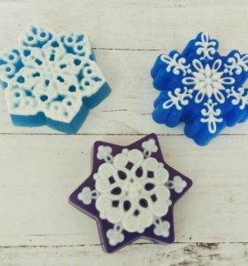 Снежинки мыло ручной работы