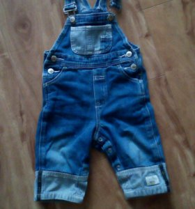 Комбинезон джинсовый 74-80 новый