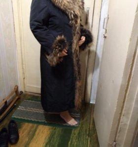 Зимнее пальто с меховой отделкой