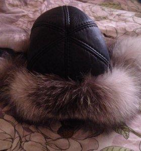 Натуральная кожаная шапка