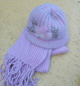 Комплект шапка+шарф ангорка новый