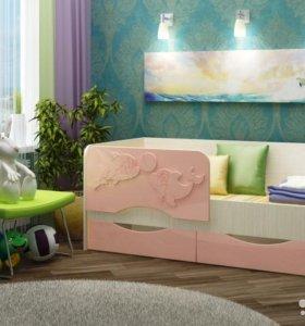 """Кровать с ящиками """" дельфин 2"""" фор"""