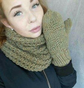 Шарф-Снуд с рукавичками