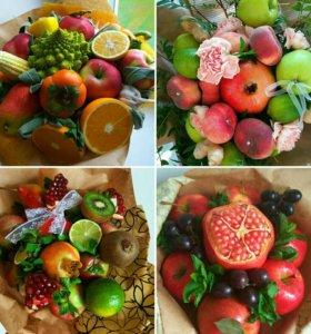 Букеты из овощей и фруктов, сладостей, мужские