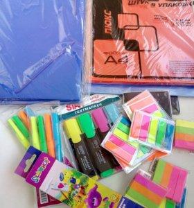 Папка-уголок, маркеры, карандаши, клейкие закладки