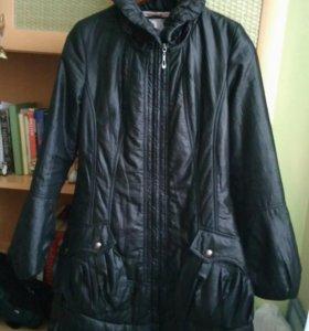 Куртка женская осень зима приталенная чёрная