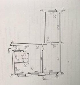 Квартира, 3 комнаты, 58.6 м²