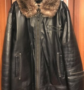 Натуральная кожаная куртка -дубленка 58-60-62 разм