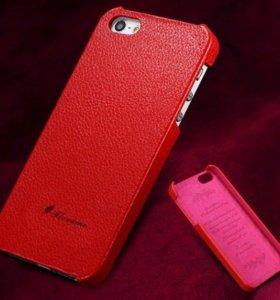 Красный кожаный чехол Floveme для iPhone 4 4s