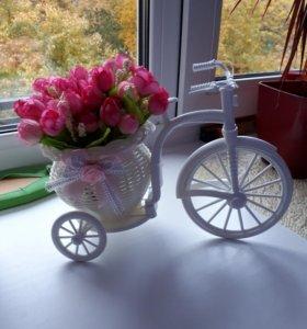 Украшения для интерьера дома. Корзинка с цветами.