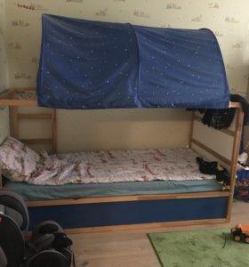 Кровать-чердак Кюра IKEA с матрасом и пологом