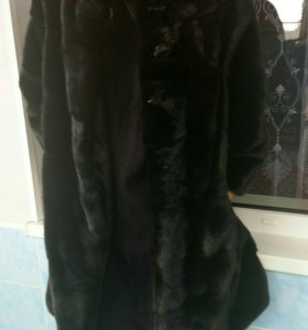 Шуба норковая черная поперечка шанель