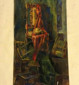 Картина, натюрморт в интерьере гуашью