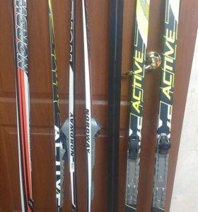 Детские лыжи с крепл. NNN БОТИНКАМИ И ПАЛКАМИ 155