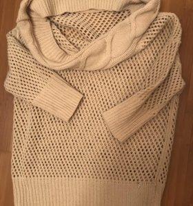 свитер туника, размер s, воротник хомут, шерсть