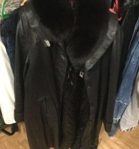 Пальто из натуральной кожи 56-62 размер