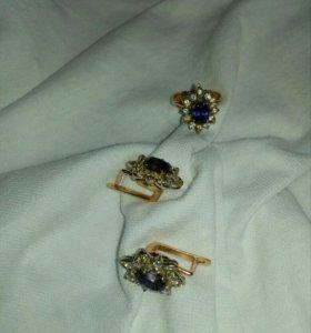 Комплект с бриллиантами и александритом