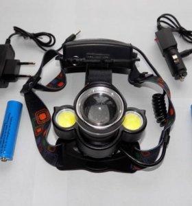 Мощный налобный фонарь три фары