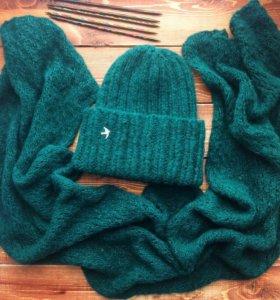 Комплект шапка и шарф вязаные