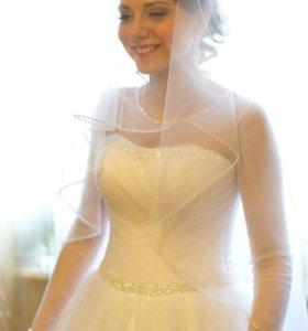 Свадебное платье+подъюбник +шубка