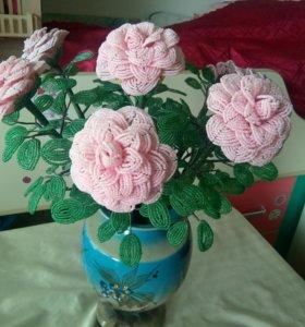 Розы чешский бисер, ручная работа