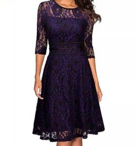 Кружевное фиолетовое платье новое
