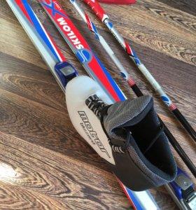 Лыжи, палки, ботинки, чехол для лыж